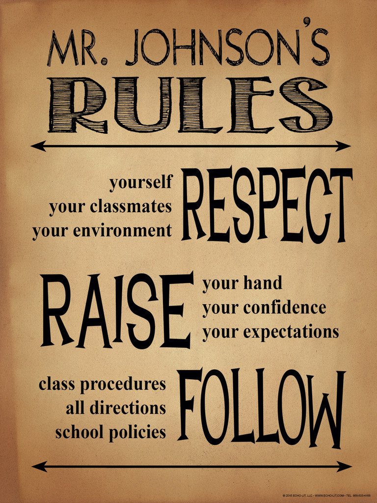 Classroom Rules Personalized Art Print. Customizable Poster For High School, Middle School or Elementary School Teachers. Fine Art Paper, Laminated, or Framed.