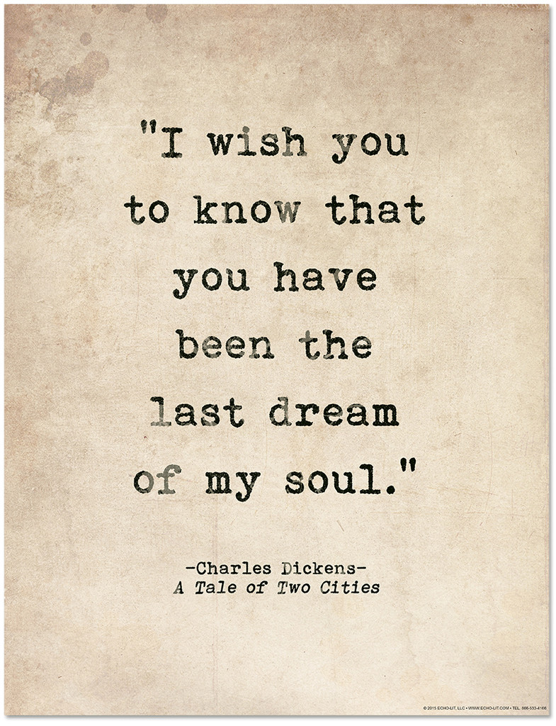 Romantic Quote Poster - A Tale of Two Cities by Charles Dickens. Literary Quote Print. Fine Art Paper, Laminated, or Framed. Multiple Sizes Available for Home, Office, or School.