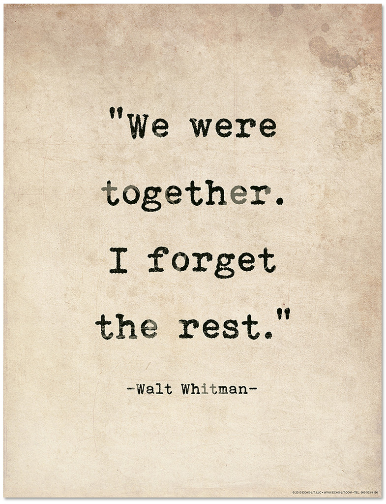 Romantic Quote Poster - Walt Whitman. Literary Quote Print. Fine Art Paper, Laminated, or Framed. Multiple Sizes Available for Home, Office, or School.