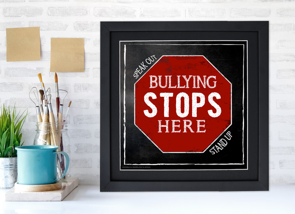 Bulling Stops Here Inspirational Quote Poster. Chalkboard Style Motivational Art Print. Multiple Sizes and Styles Available.