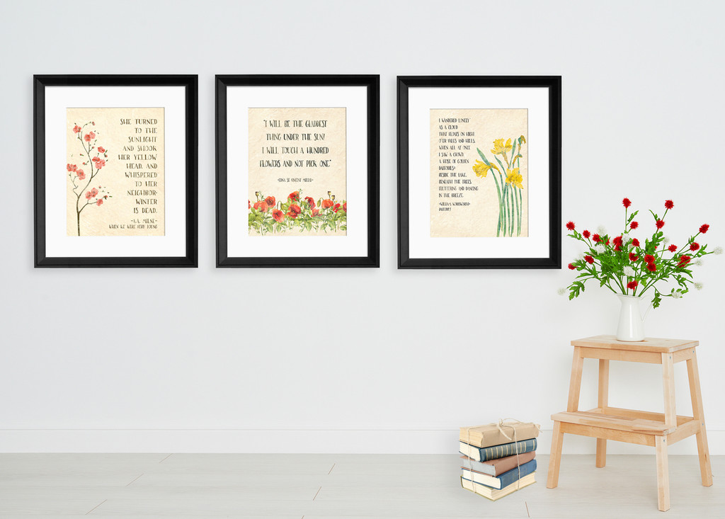 Floral Poems Watercolor Art Print Set Featuring Poets William Wordsworth, A.A. Milne, and Edna St. Vincent Millay