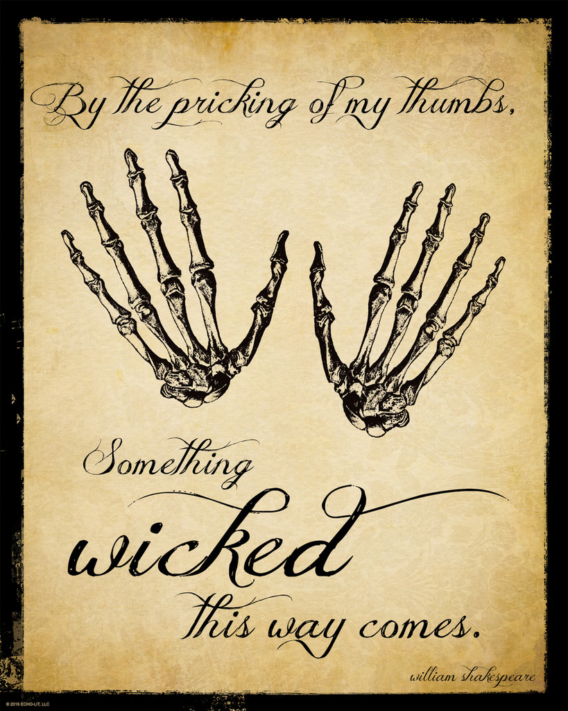 Something Wicked This Way Comes Macbeth Shakespeare Literary Quote. Vintage Style Fine Art Print For Classroom, Library, Home or Dorm