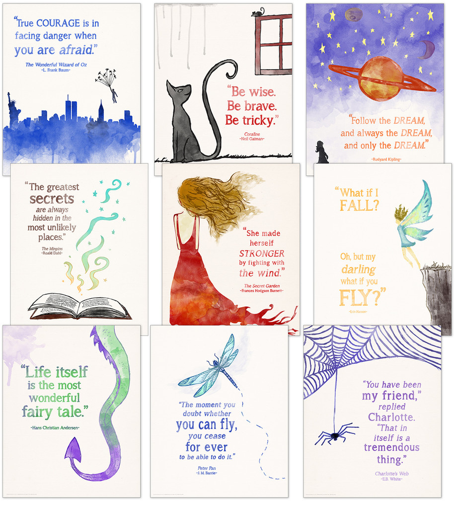 Children's Literature Quote Note Cards. Set of Nine Different Cards with Envelopes