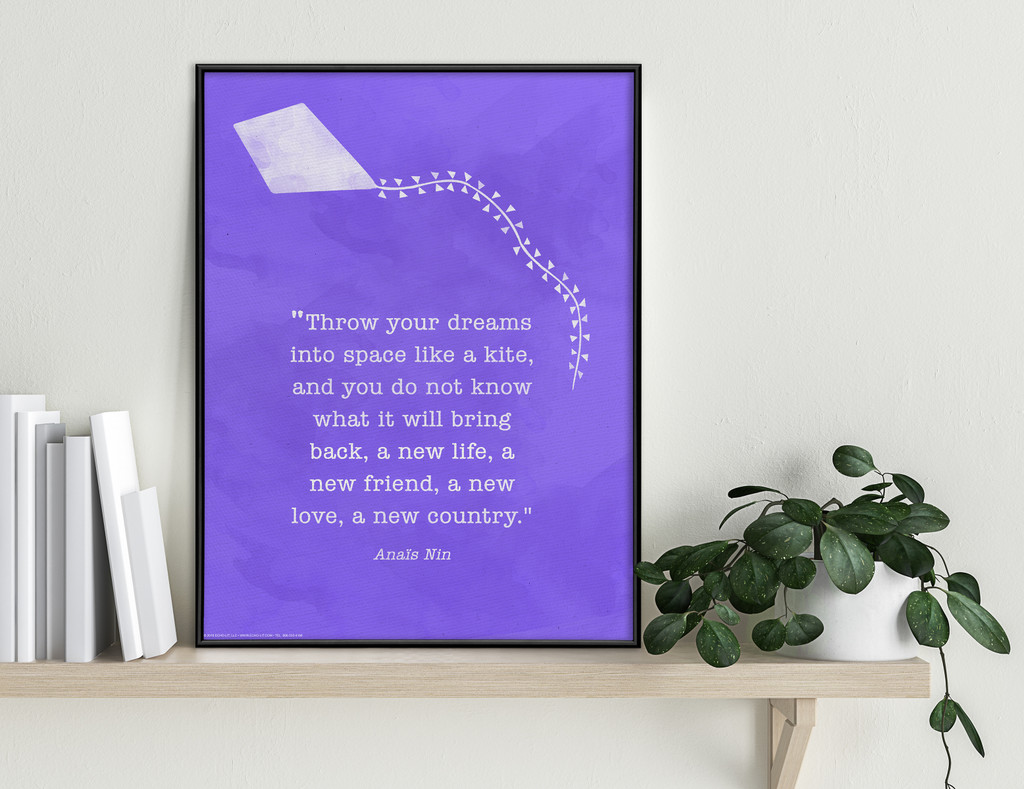 Anaïs Nin Throw Your Dreams into Space Literary Quote Poster. Fine Art Paper, Laminated, or Framed. Multiple Sizes Available.