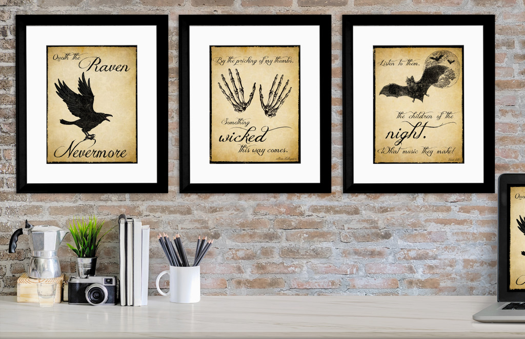 The Raven, Dracula and Macbeth Inspirational Literary Quote Set. Vintage Style Prints. Fine Art Paper, Laminated, or Framed. Multiple Sizes
