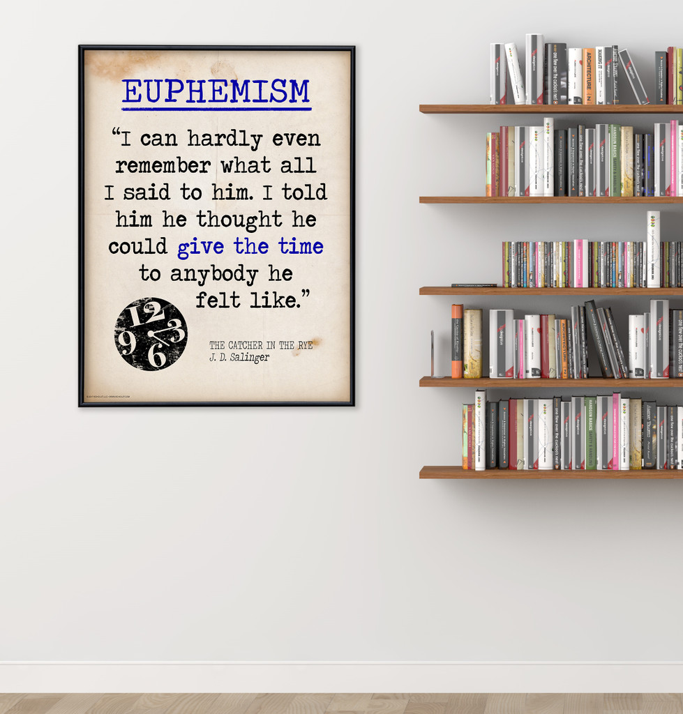 Euphemism - Educational Poster featuring J.D. Salinger Quote. Vintage Style Literary Term Classroom Poster