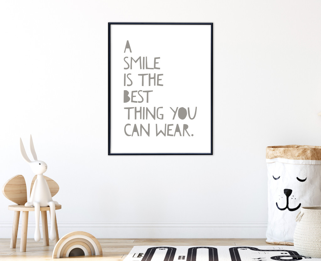 A Smile is the Best Thing You Can Wear Inspirational Quote Print. Fine Art Paper, Laminated, or Framed. Multiple Sizes Available