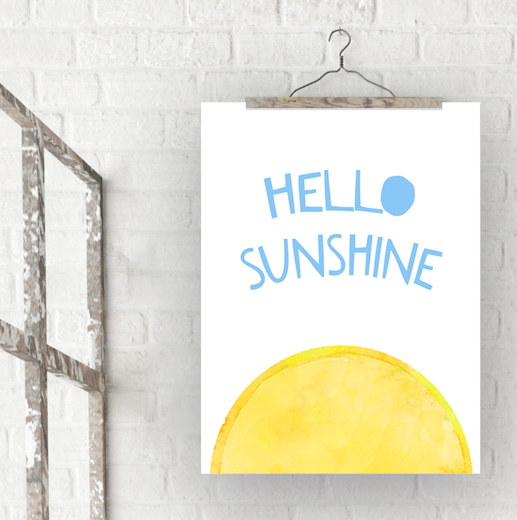 Hello Sunshine Inspirational Quote Print. Fine Art Paper, Laminated, or Framed. Multiple Sizes Available for Home, Office, or School.