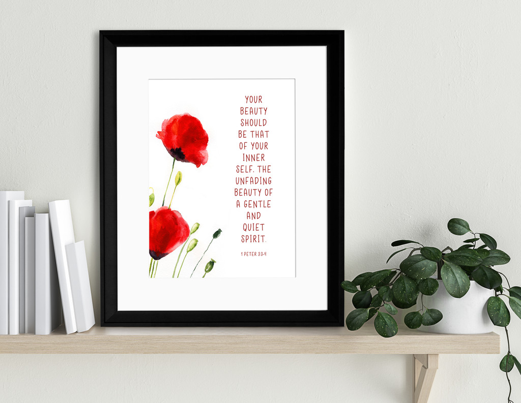 Beauty Within Spiritual Inspirational Bible Quote Print. Fine Art Paper, Laminated, or Framed. Multiple Sizes