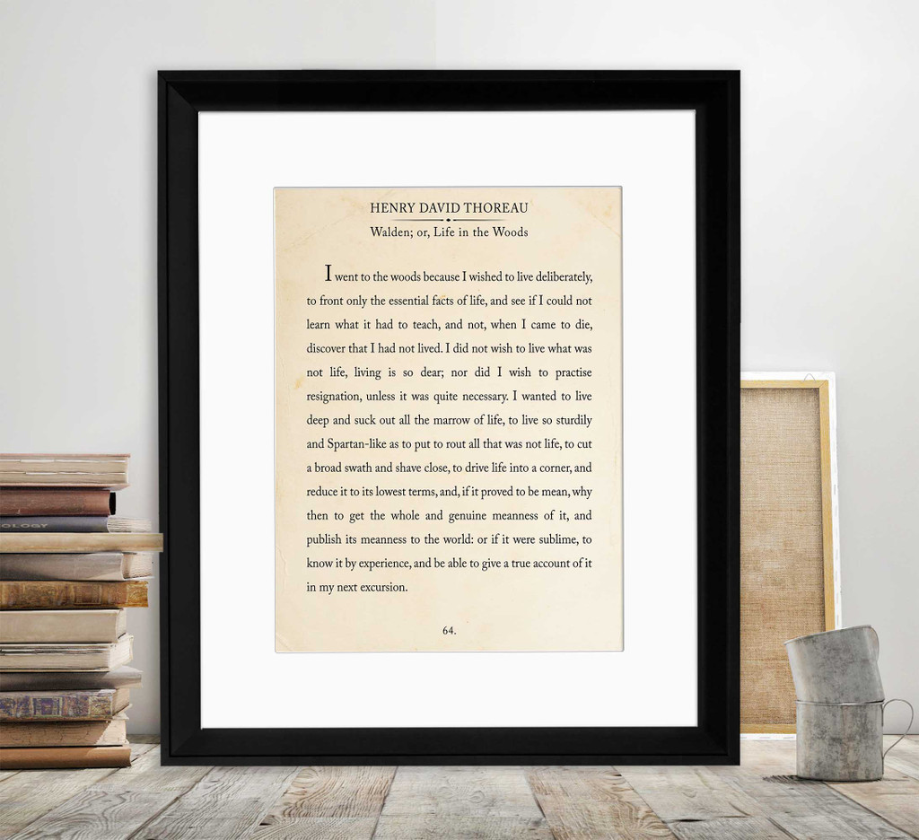 Thoreau Book Page Style Literary Quote Print. Fine Art Paper, Laminated, or Framed. Multiple Sizes Available