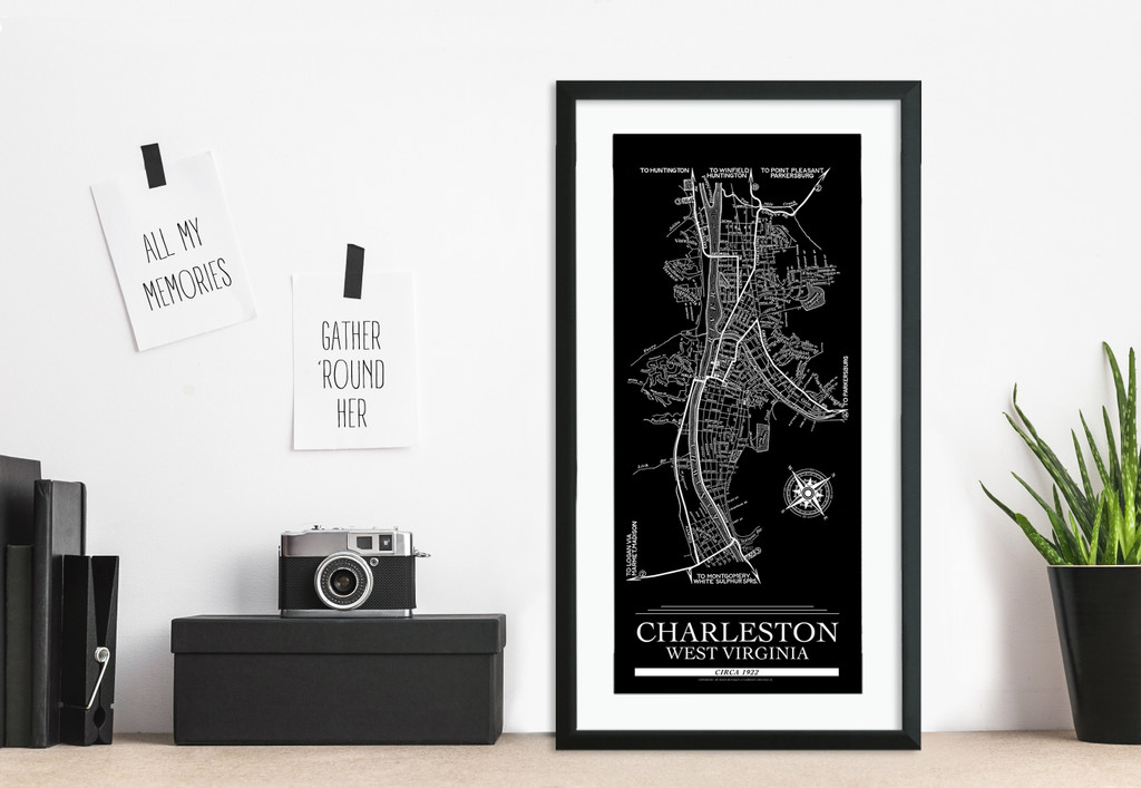 Vintage 1922 Charleston, WV Map Print. Available Fine Art Paper or Framed.