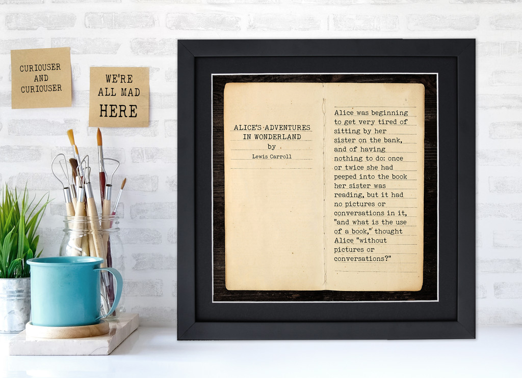 Alices Adventures in Wonderland Lewis Carroll Literary Quote Print. Fine Art Paper, Laminated or Framed.