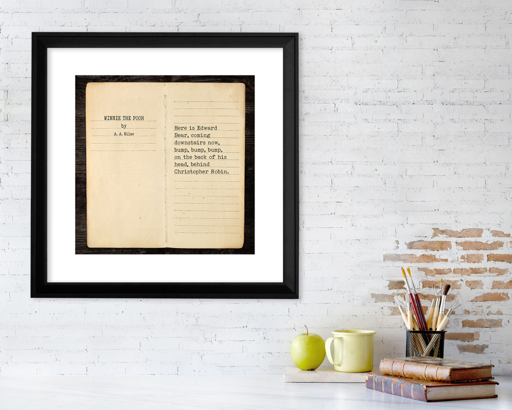 Winnie the Pooh A.A. Milne Literary Quote Print. Fine Art Paper, Laminated or Framed.