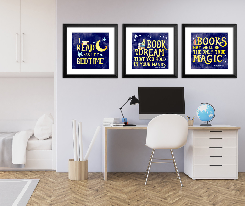 Literary Reading Poster Set of 3 - Literary Quote Prints. Fine Art Paper, Laminated, or Framed. Multiple Sizes Available for Home, Office, or School.