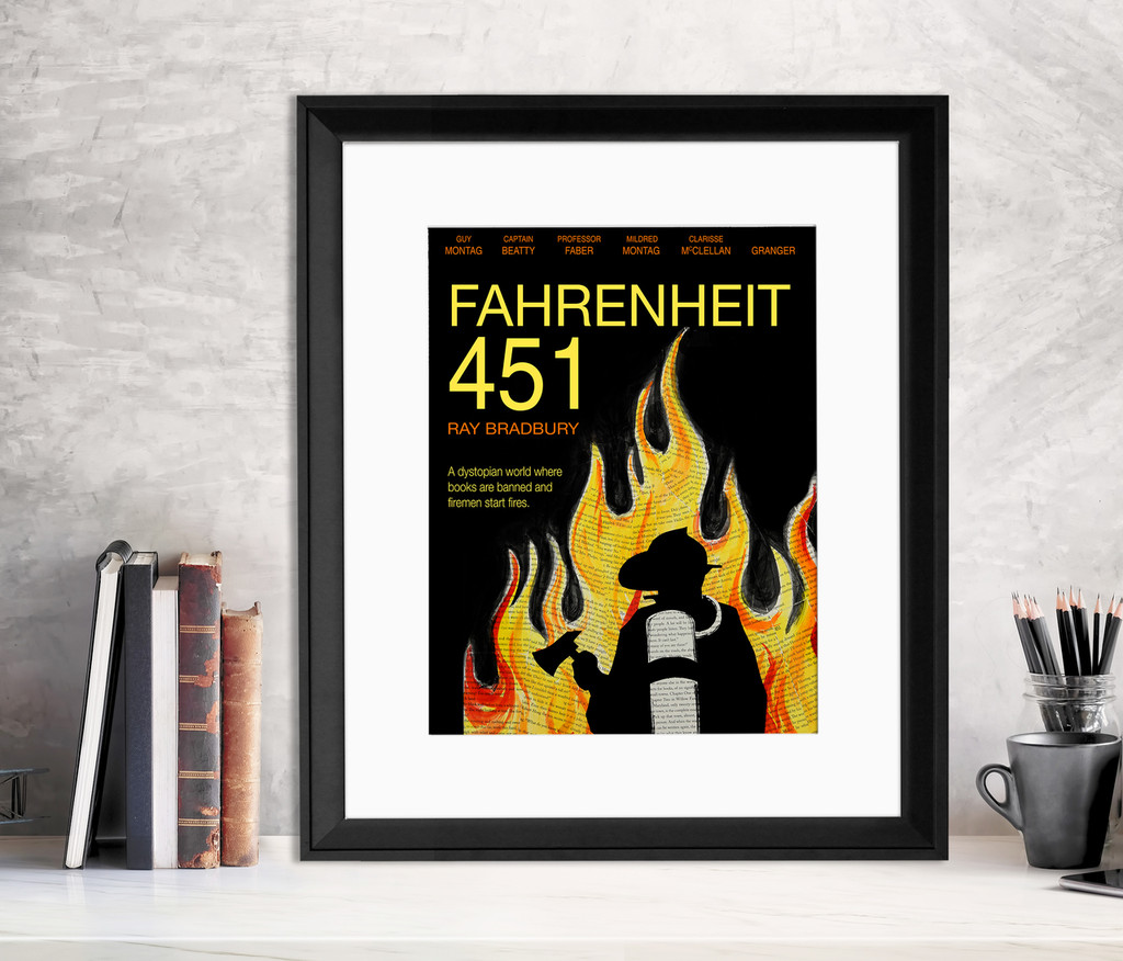 Fahrenheit 451 - Ray Bradbury - Classic Novel Fine Art Print for Home, Office, Library, or Classroom