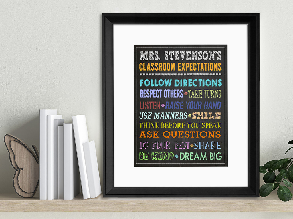 Classroom Expectations Personalized Art Print. Fine Paper Print, Laminated, or Framed. Multiple Sizes for Classroom or Library