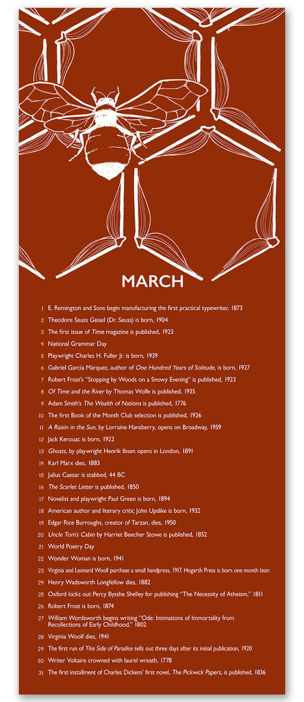 March Literary Event Calendar. Fine Art Paper or Laminated. Available for Home, Office, or School.