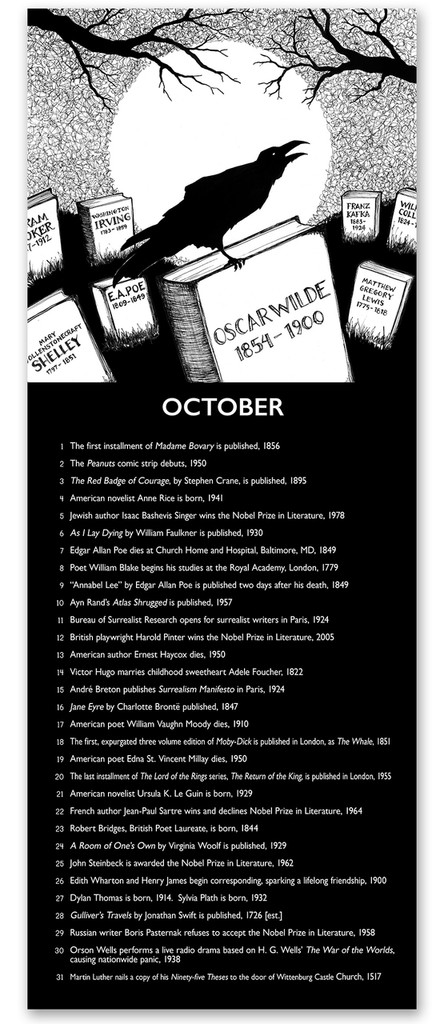 October Literary Event Calendar. Fine Art Paper or Laminated. Available for Home, Office, or School.