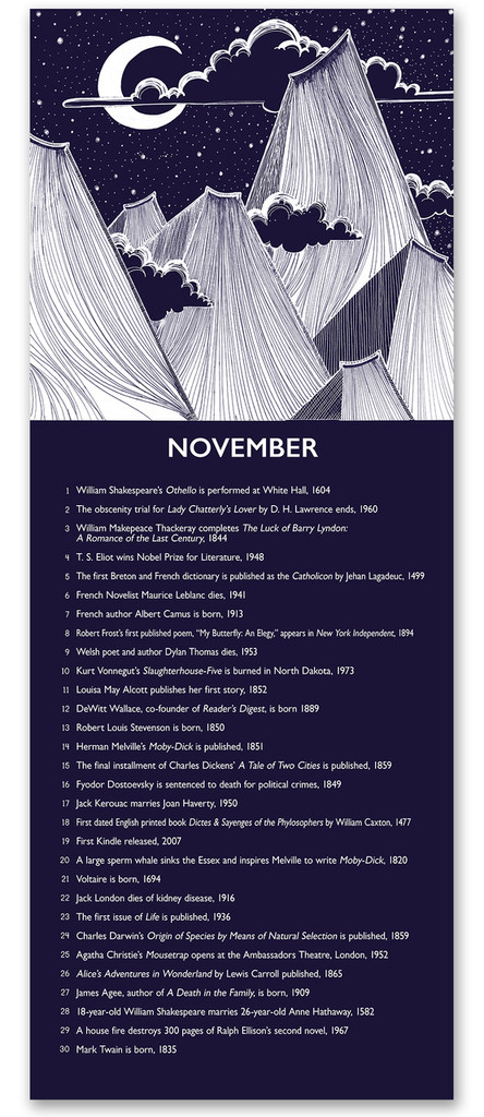 November Literary Event Calendar. Fine Art Paper or Laminated. Available for Home, Office, or School.