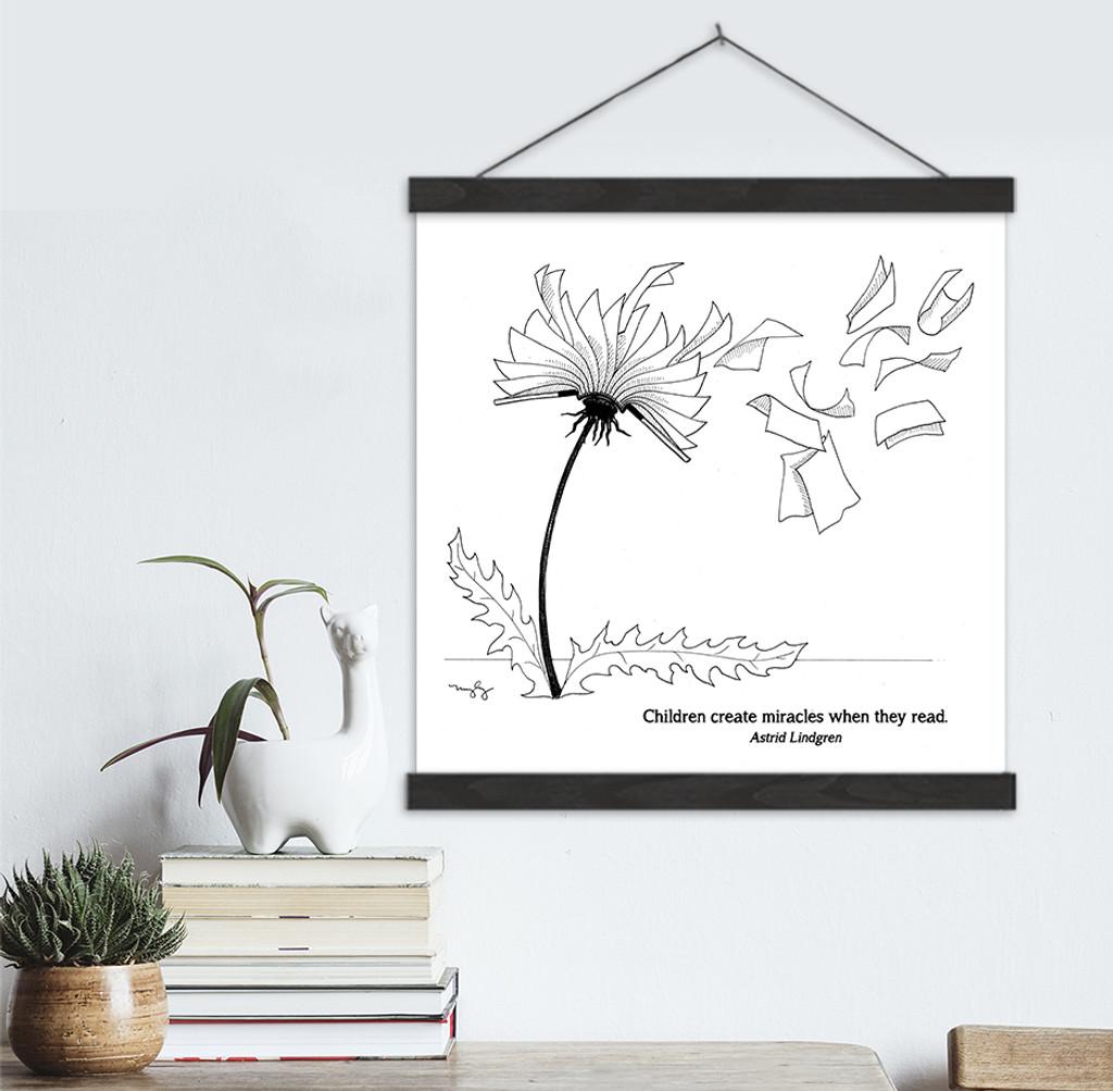 Astrid Lindgren Literary Quote Print. Fine Art Canvas with Hanger.