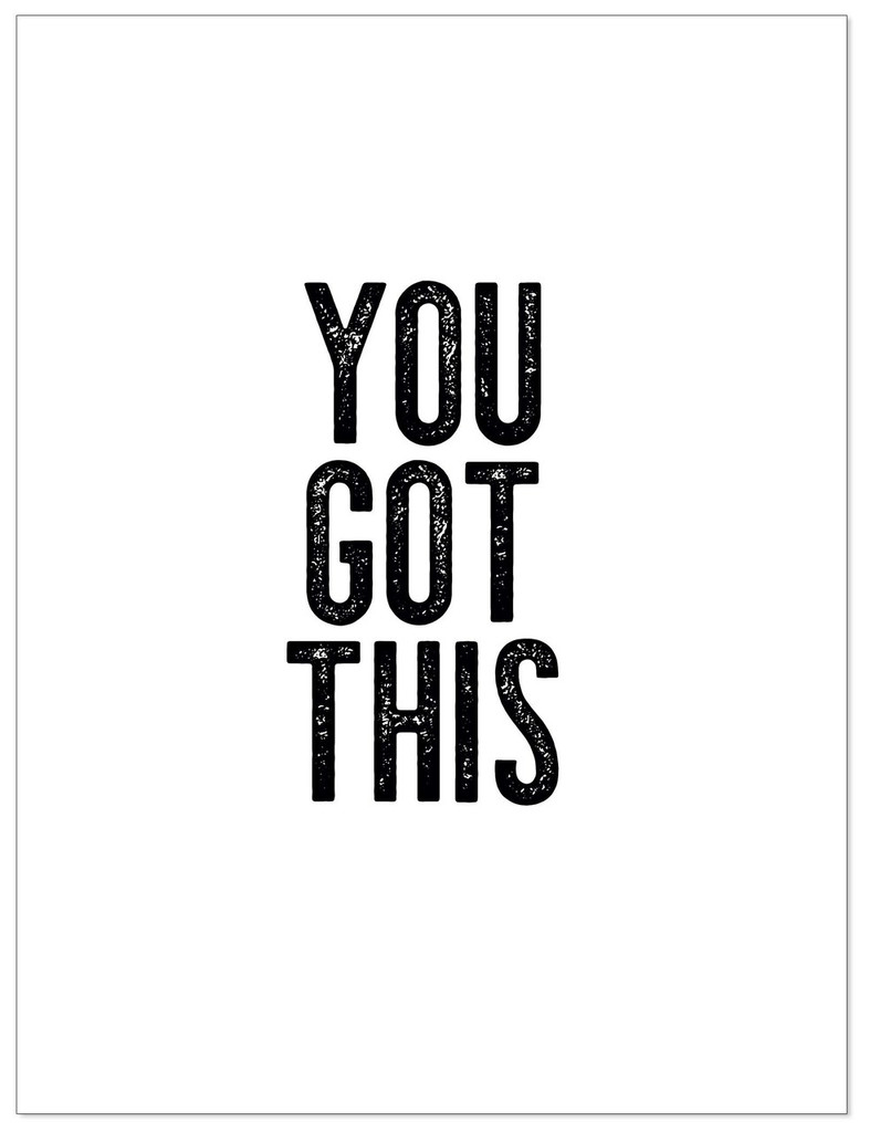 You Got This - Letter Press Style Quote Canvas Art Print w/Hanger for Home, Classroom or Library