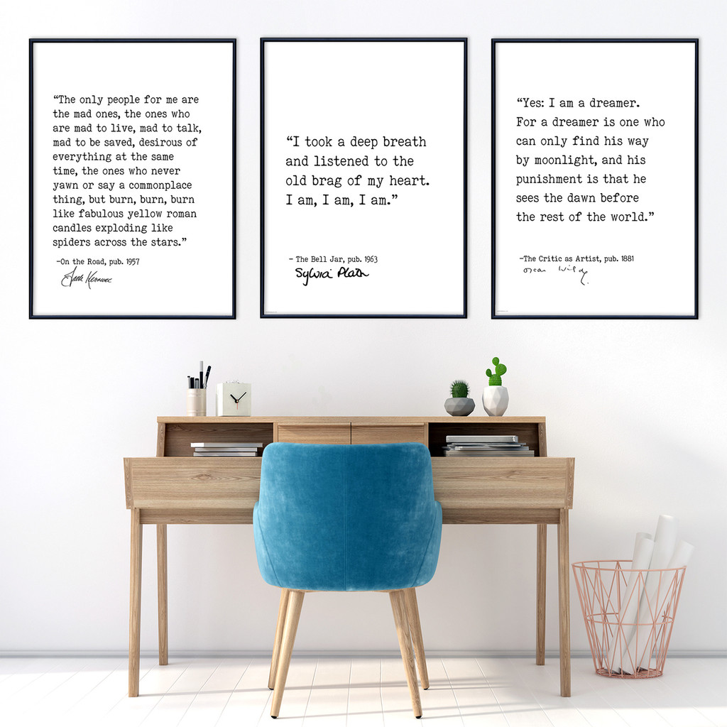 Dreamers - Literary Signature Quotes Set of 3. Wilde, Kerouac, and Plath. Fine Art Paper, Laminated, or Framed. Multiple Sizes for Home, Office, or School