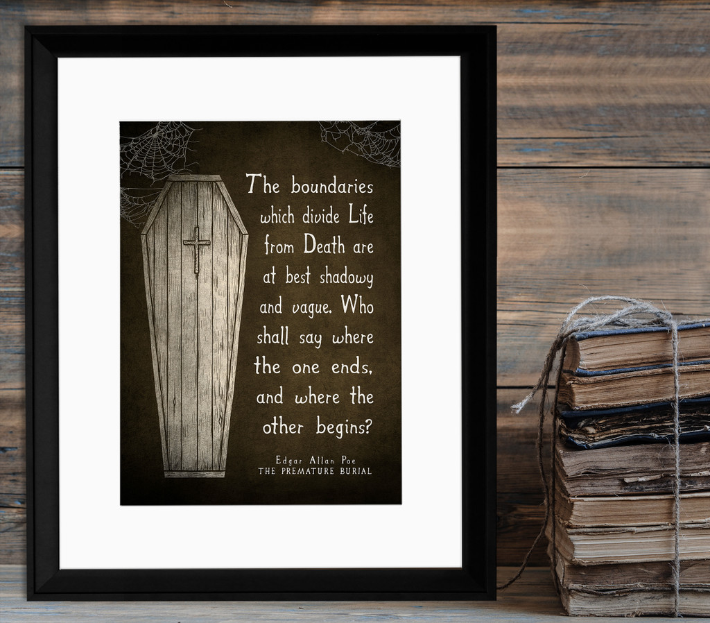The Premature Burial Literary Quote Print. Vintage Style Fine Art Paper, Laminated, or Framed. Edgar Allan Poe Print Available in Multiple Sizes.