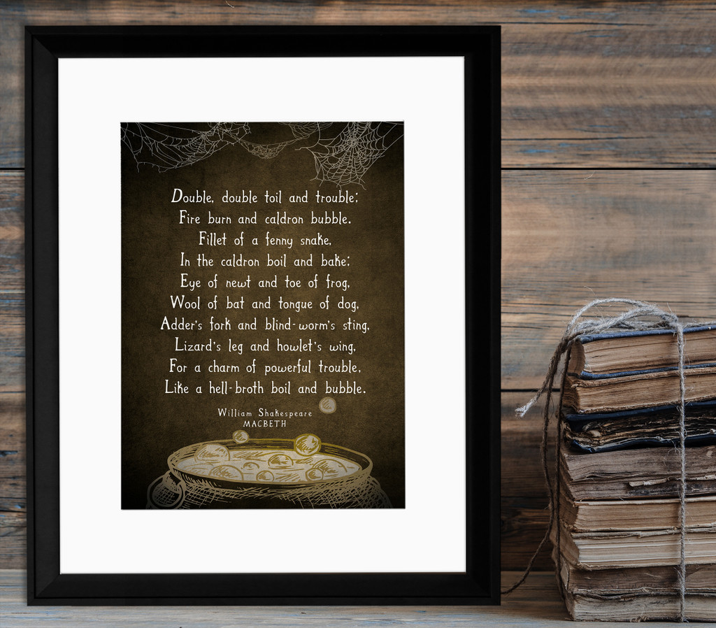 Macbeth Literary Quote Print. Vintage Style Fine Art Paper, Laminated, or Framed. William Shakespeare Print Available in Multiple Sizes.