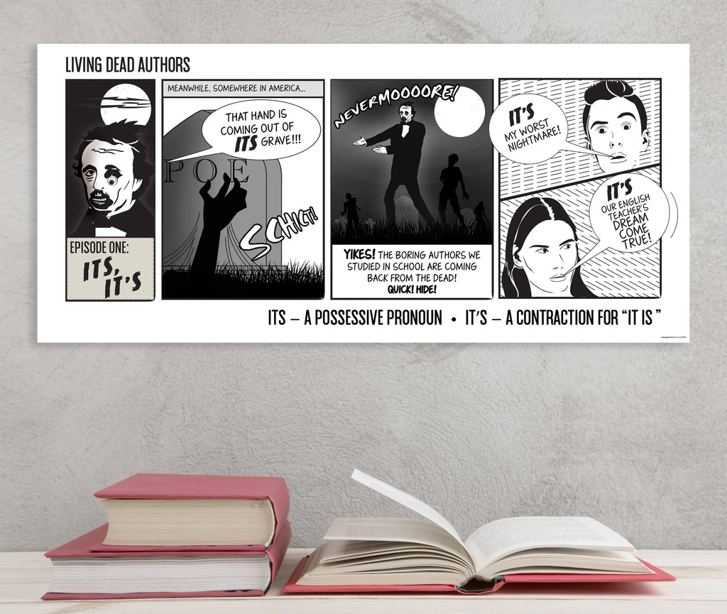 Edgar Allan Poe Living Dead Authors Comic Style Grammar Print. Spelling and Usage Poster for Classroom or Library.