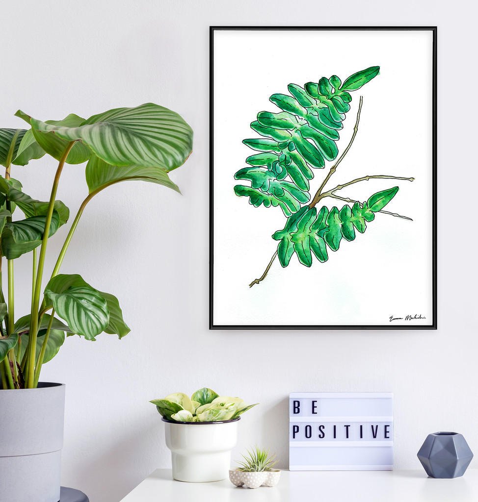 West Virginia Botanicals Watercolor Fern 2 Plant Fine Art Print. Plain Paper, Laminated, or Framed. Multiple Sizes Available.