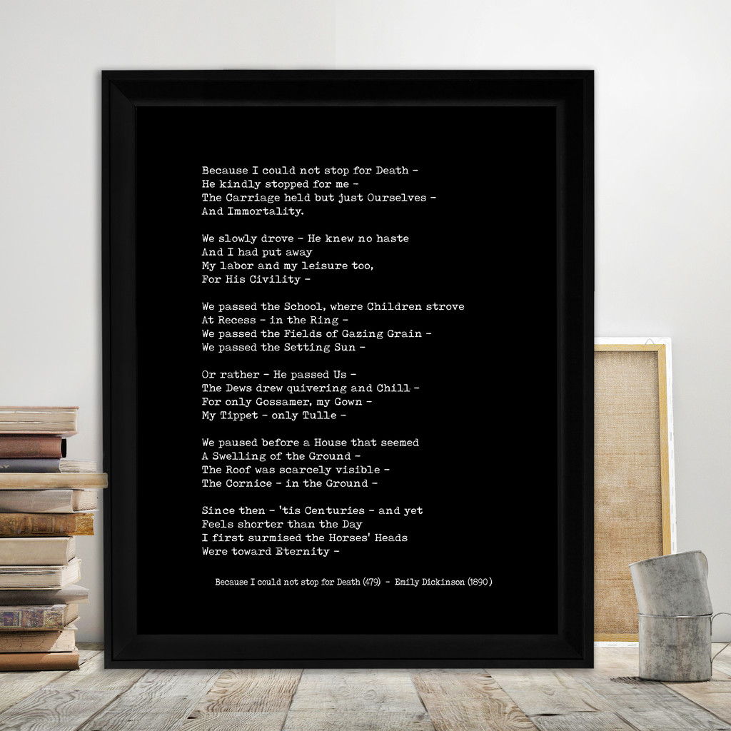 Emily Dickinson Because I Could Not Stop For Death Quote Print. Fine Art Paper, Laminated, or Framed. Multiple Sizes Available