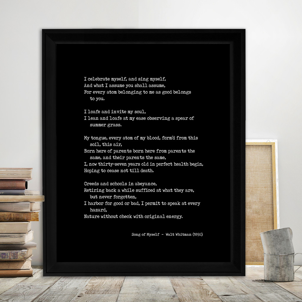 Walt Whitman Song of Myself Quote Print. Fine Art Paper, Laminated, or Framed. Multiple Sizes for Library, Home, Office, or School