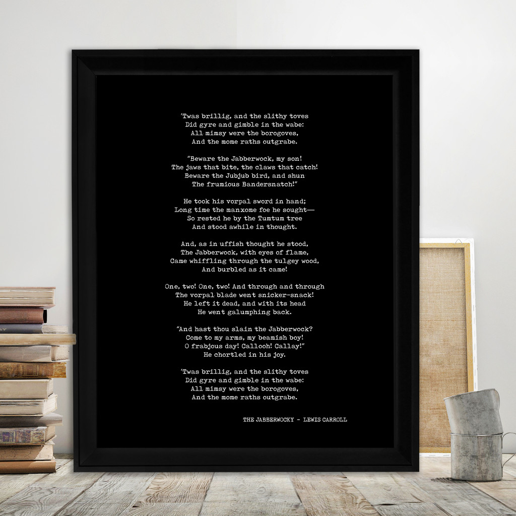 Lewis Carroll The Jabberwocky Quote Print. Fine Art Paper, Laminated, or Framed. Multiple Sizes for Library, Home, Office, or School