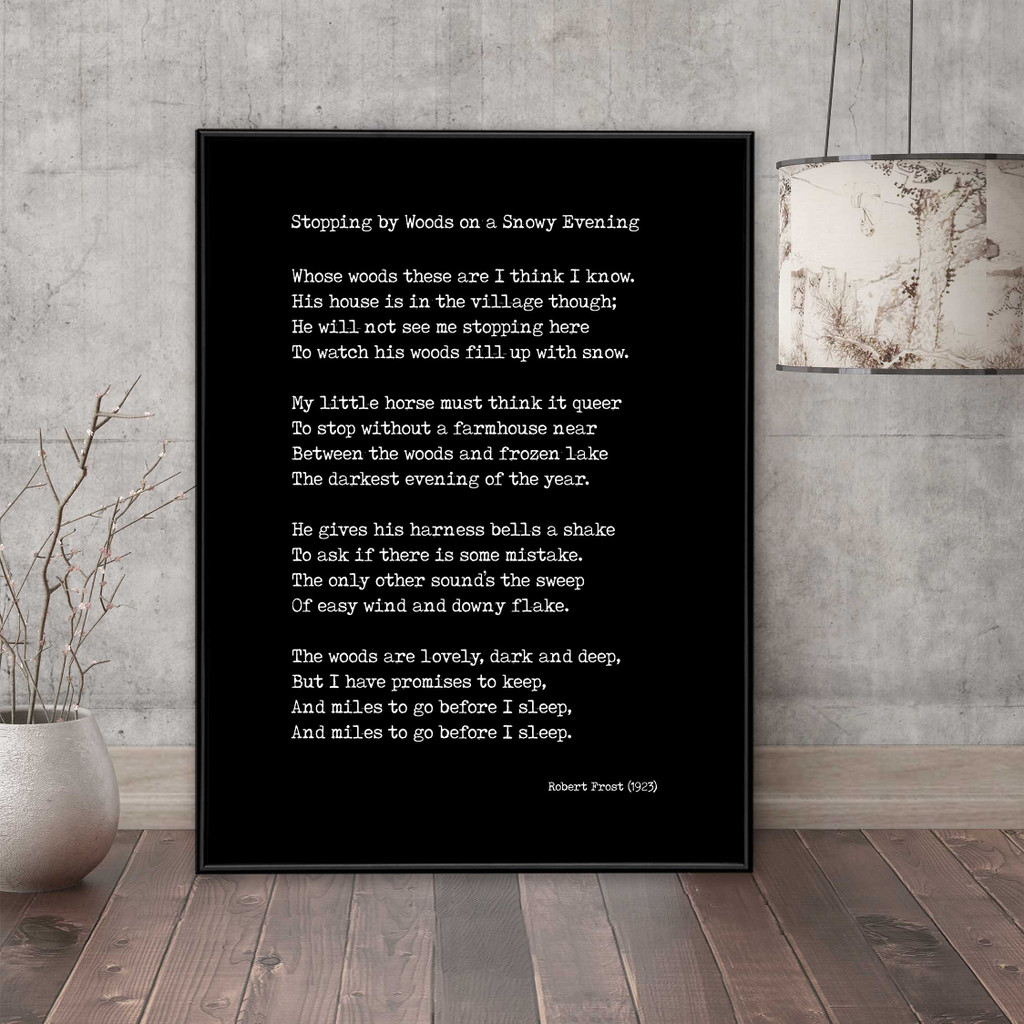 Robert Frost Stopping By Woods on a Snowy Evening Quote Print. Fine Art Paper, Laminated, or Framed. Multiple Sizes Available