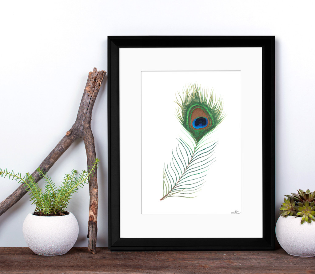 Peacock Feather Art Print. Matte Paper, Laminated or Framed. Multiple Sizes