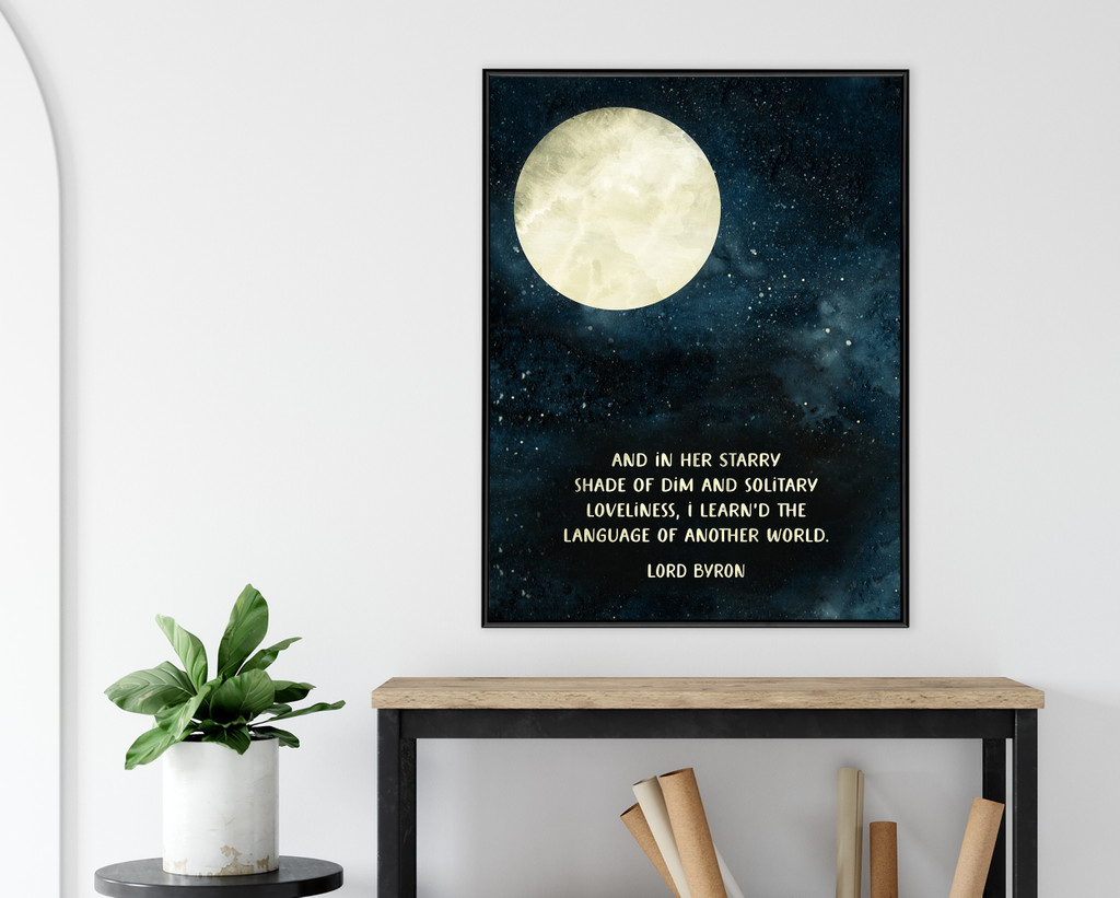 And in Her Starry Shade Lord Byron Quote Art Print. Moon Watercolor. Matte Paper, Laminated or Framed. Multiple Sizes