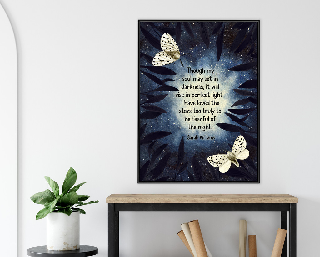 Soul Set in Darkness. Sarah Williams Quote Art Print. Matte Paper, Laminated or Framed. Multiple Sizes