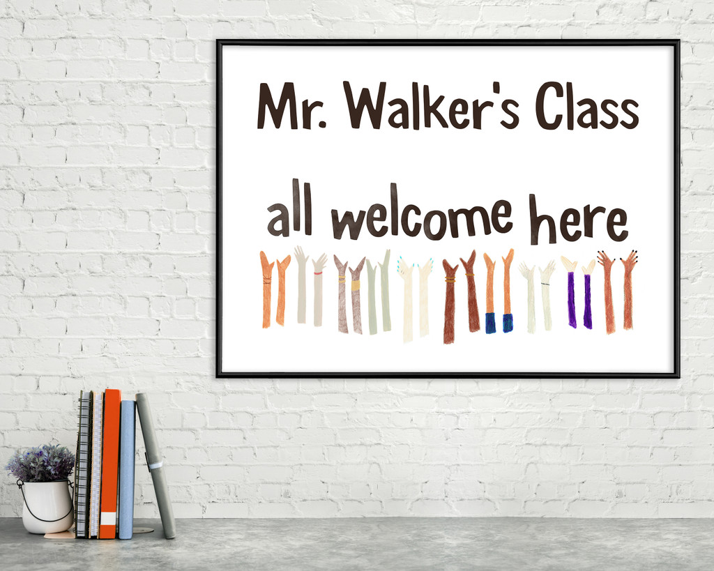 All Welcome Customized Art Print. Diversity and Inclusivity Poster. Matte Paper, Laminated or Framed. Multiple Sizes