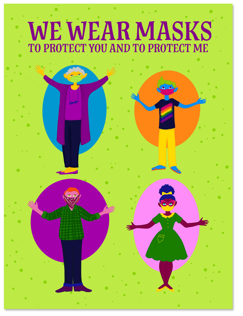 We Wear Masks. Classroom Covid-19 Safety Social Distancing Poster. Matte Art Paper, Laminated or Framed. Multiple Sizes
