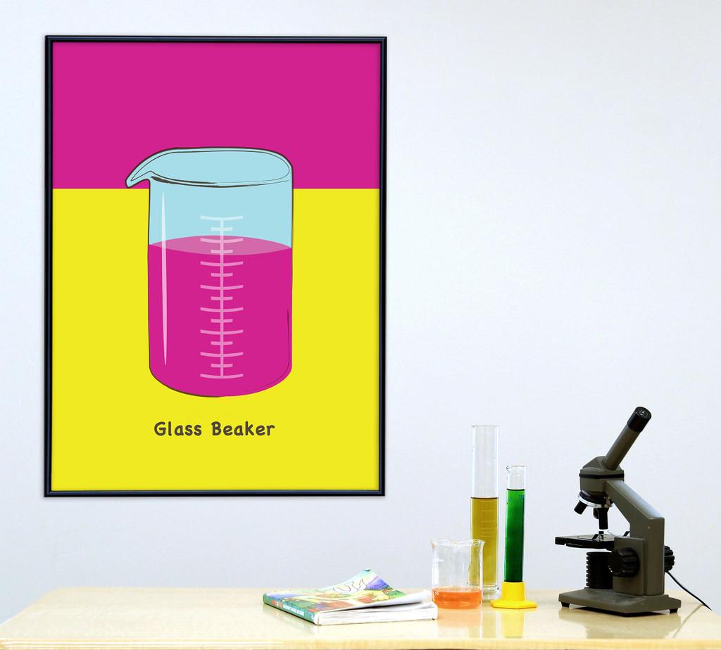 Glass Beaker Science STEM Poster. Vibrant Scientific Instruments Art Print. Matte Paper, Laminated or Framed. Multiple Sizes