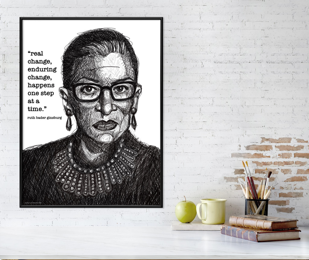 Ruth Bader Ginsburg  Real Change Quote Art Print. Matte Paper, Laminated or Framed. Multiple Sizes