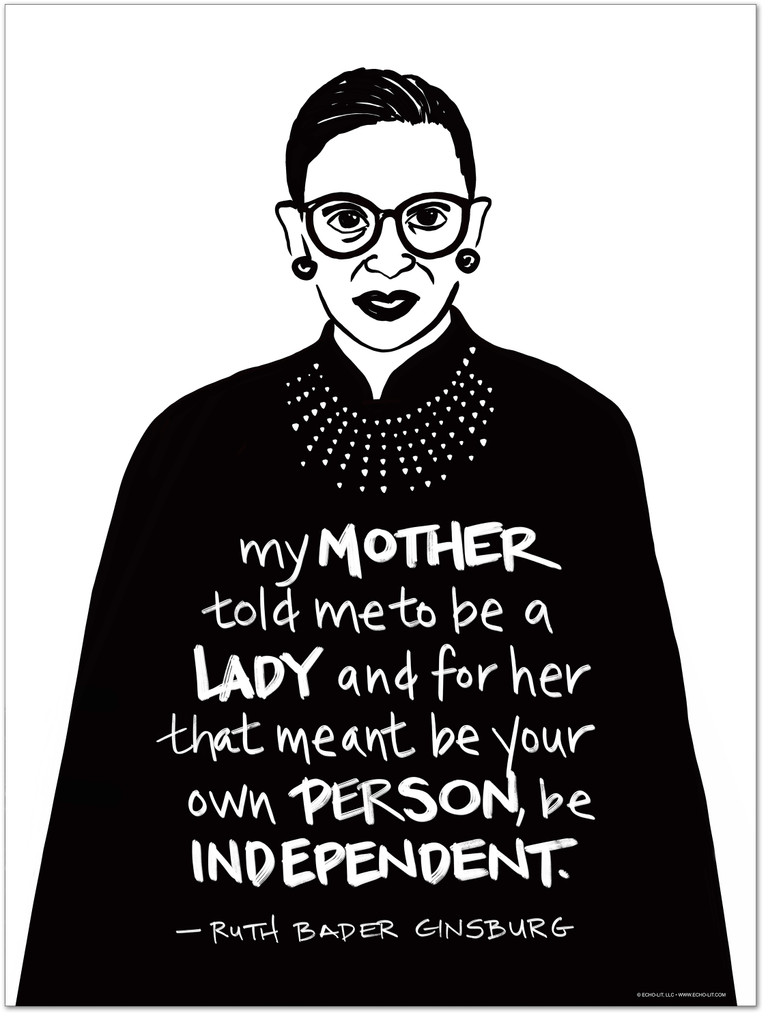 Ruth Bader Ginsburg  Be a Lady Quote Art Print. Matte Paper, Laminated or Framed. Multiple Sizes