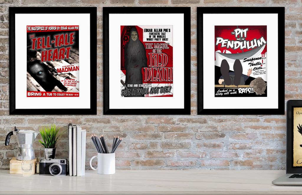 Edgar Allan Poe Movie-style Poster Set. Fine Art Paper, Laminated, or Framed. Multiple Sizes
