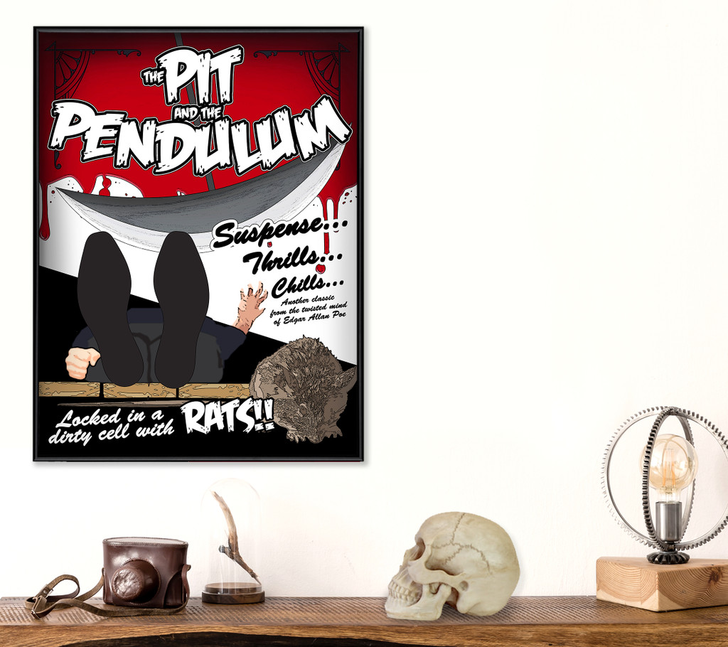 Edgar Allan Poe The Pit and the Pendulum Classic Movie-Style Poster Print. Matte Paper, Laminated or Framed. Multiple Sizes
