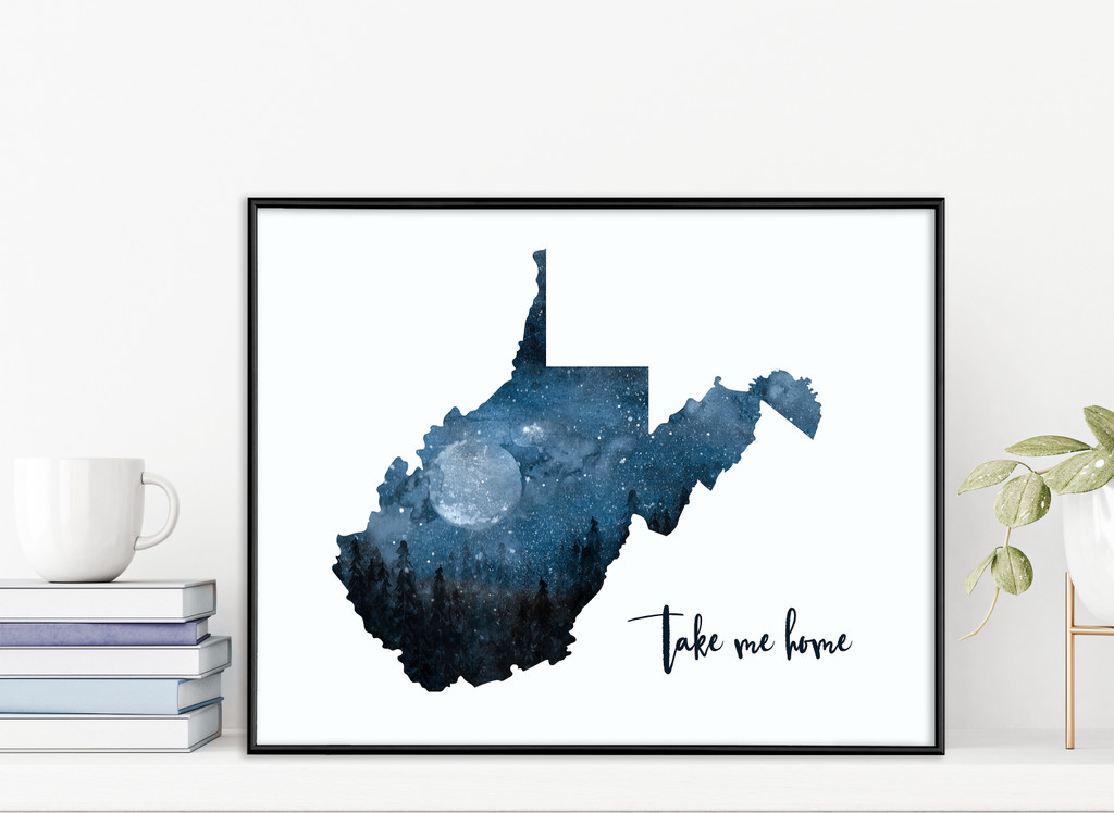 West Virginia - Take Me Home - Moon Watercolor Quote Fine Art Print. Multiple Sizes.
