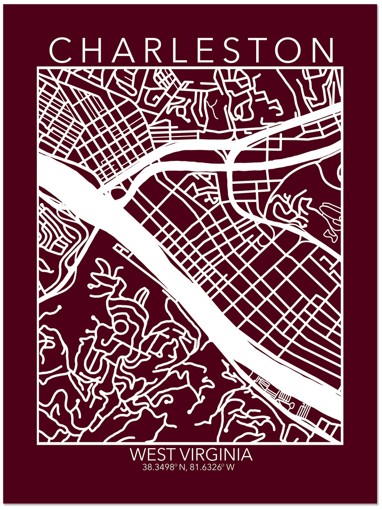 Charleston West Virginia Map Fine Art Print. Plain Paper, Laminated, Canvas or Framed. Multiple Sizes Available.
