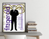 F. Scott Fitzgerald Important Authors Literary Art Print. Educational English Classroom Poster. Fine Art Paper, Laminated, or Framed.