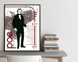 Edgar Allan Poe Important Authors Literary Art Print. Educational Classroom Poster. Fine Art Paper, Laminated, or Framed.