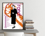 Ayn Rand Important Authors Literary Art Print. Educational English Classroom Poster. Fine Art Paper, Laminated, or Framed.