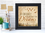 Henry David Thoreau Classic Inspirational Quote, Motivational Art Print, Go Confidently. Vintage Style Literary Poster
